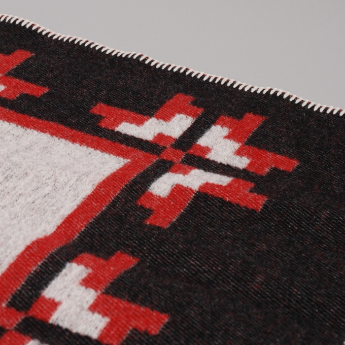Indigofera x Wes Lang Pure Wool Blanket - Black/White/Red (Image 1)