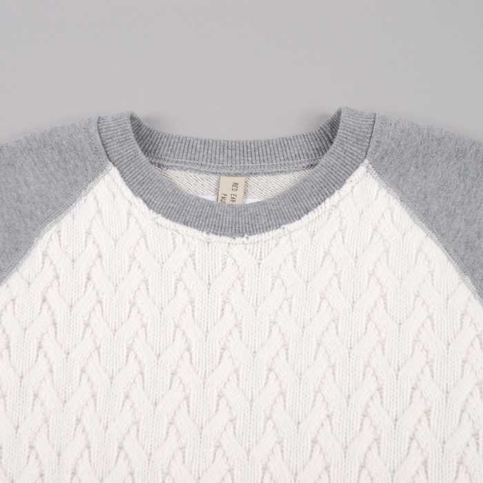 Paul Smith Cable Knit Raglan Sweat - Ecru/Grey (Image 1)