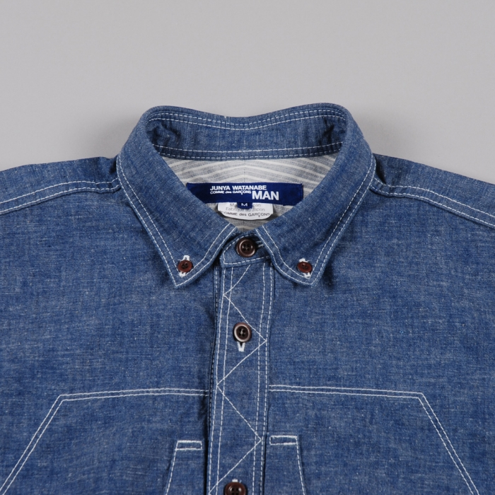 Junya Watanabe Man Constructed Denim Work Shirt - Blue (Image 1)