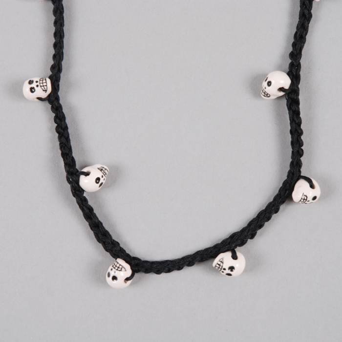 Venessa Arizaga Rat Pack Necklace - Black/Ceramic Skull (Image 1)