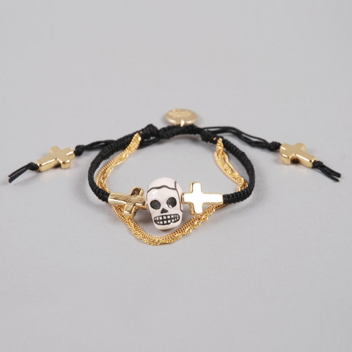 Venessa Arizaga The Alamo Bracelet - Black/ Ceramic Skull (Image 1)