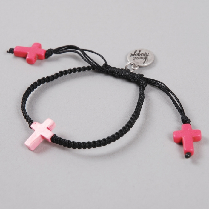 Venessa Arizaga La Cruz Bracelet - Black/ Pink Cross (Image 1)