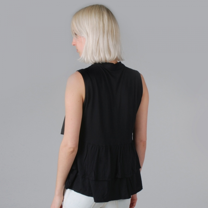 Clu Pleated Paneled Top - Black (Image 1)