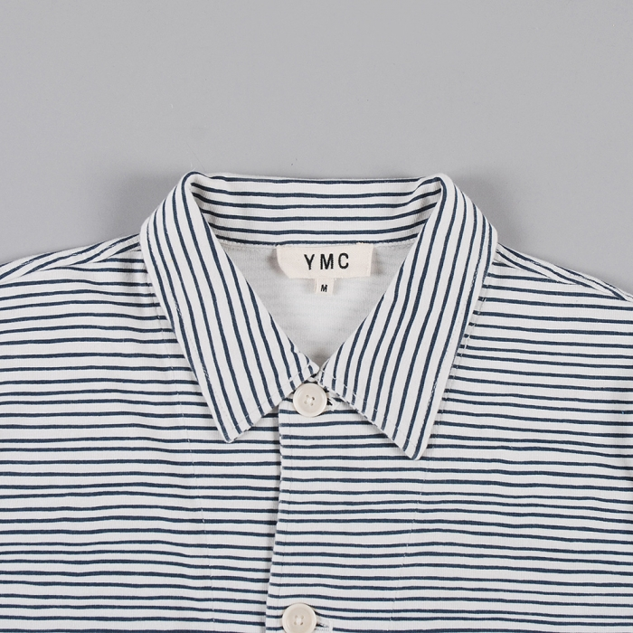 YMC Stripe Button Cardy - Ecru/Navy (Image 1)