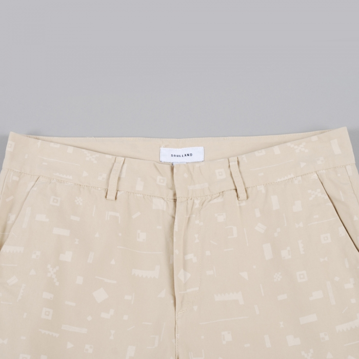 Soulland Stump Chino W.Print - Beige W.White (Image 1)