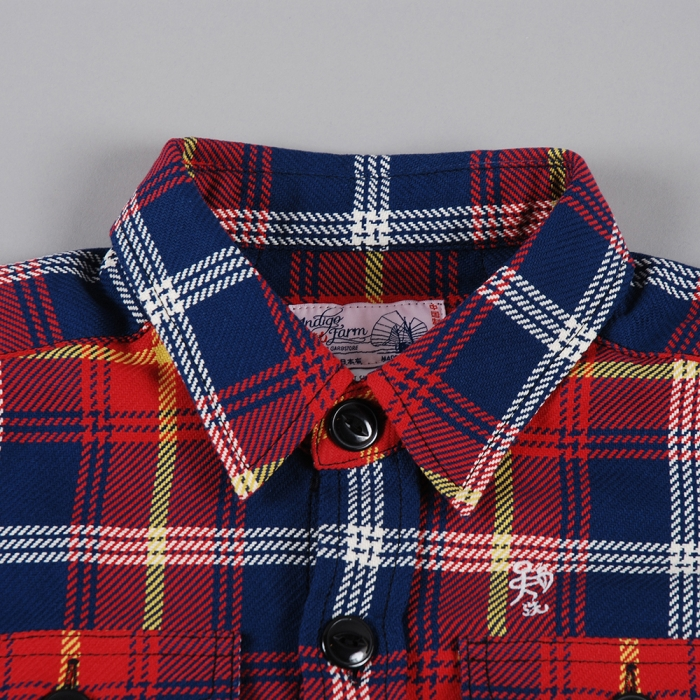 Garbstore Indigo Farm Check Shirt - Red (Image 1)