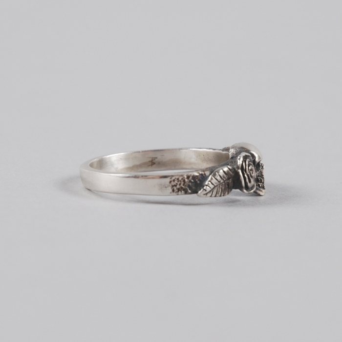 Dog State Skull Rose Ring - Silver (Image 1)