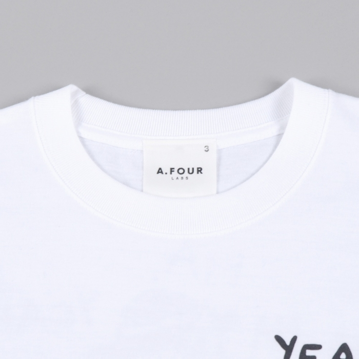 "A.FOUR S/S Print T-Shirt ""Ha Ha"" - White (Image 1)"