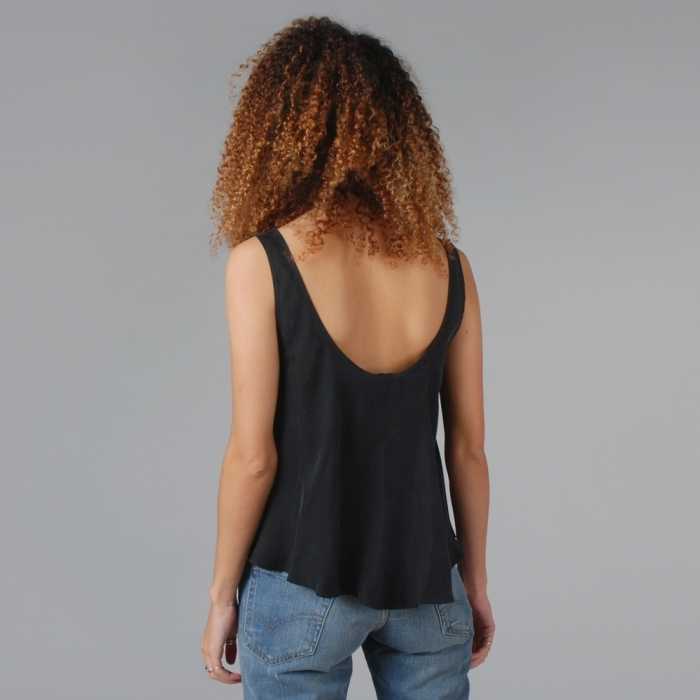 Lonely Hearts Mesh Insert Cami Top - Black (Image 1)