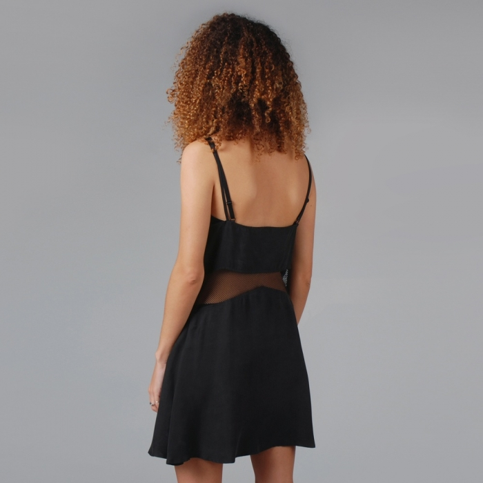 Lonely Hearts Mesh Insert Dress - Black (Image 1)