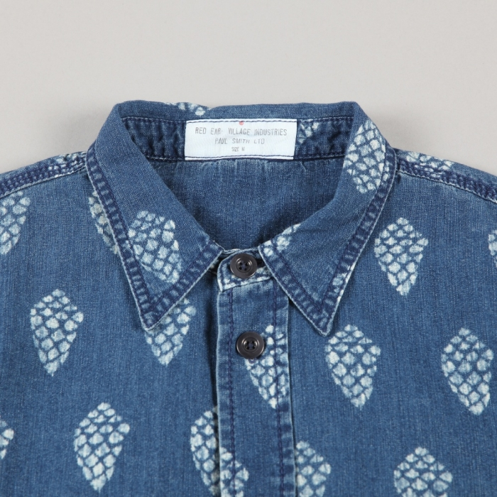 Paul Smith Pine Cone Print Chambray Shirt - Indigo (Image 1)