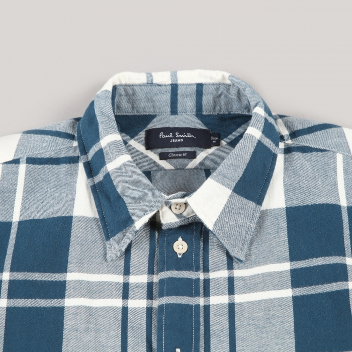 Paul Smith Oversize Check Flannel Shirt - Petrol Blue (Image 1)