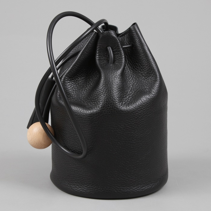 Building Block Bucket - Pebbled Black Leather (Image 1)